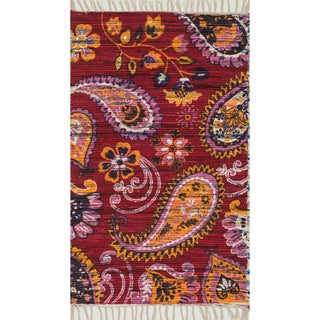 "Flatweave Maria Pink/ Gold Paisley Rug (1'8 x 3'0) - 1'8"" x 3'"