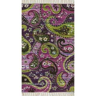 Flatweave Maria Purple/ Multi Paisley Rug (1'8 x 3'0)