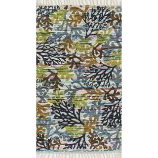 Flatweave Maria Grey/ Multi Coral Rug (1'8 x 3'0)