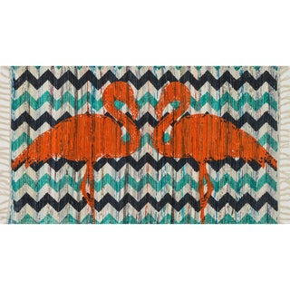 Flatweave Maria Orange Flamingo Rug (2'3 x 3'9)