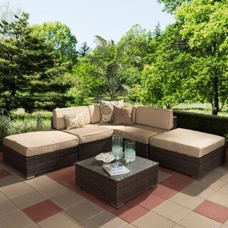 Baxton Studio Everhart Contemporary Outdoor Brown Wicker and Tan linen Lawn Sectional Sofa Set