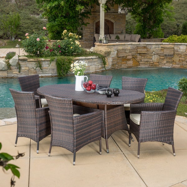 Dana Outdoor 7 Piece Wicker Dining Set With Cushions By