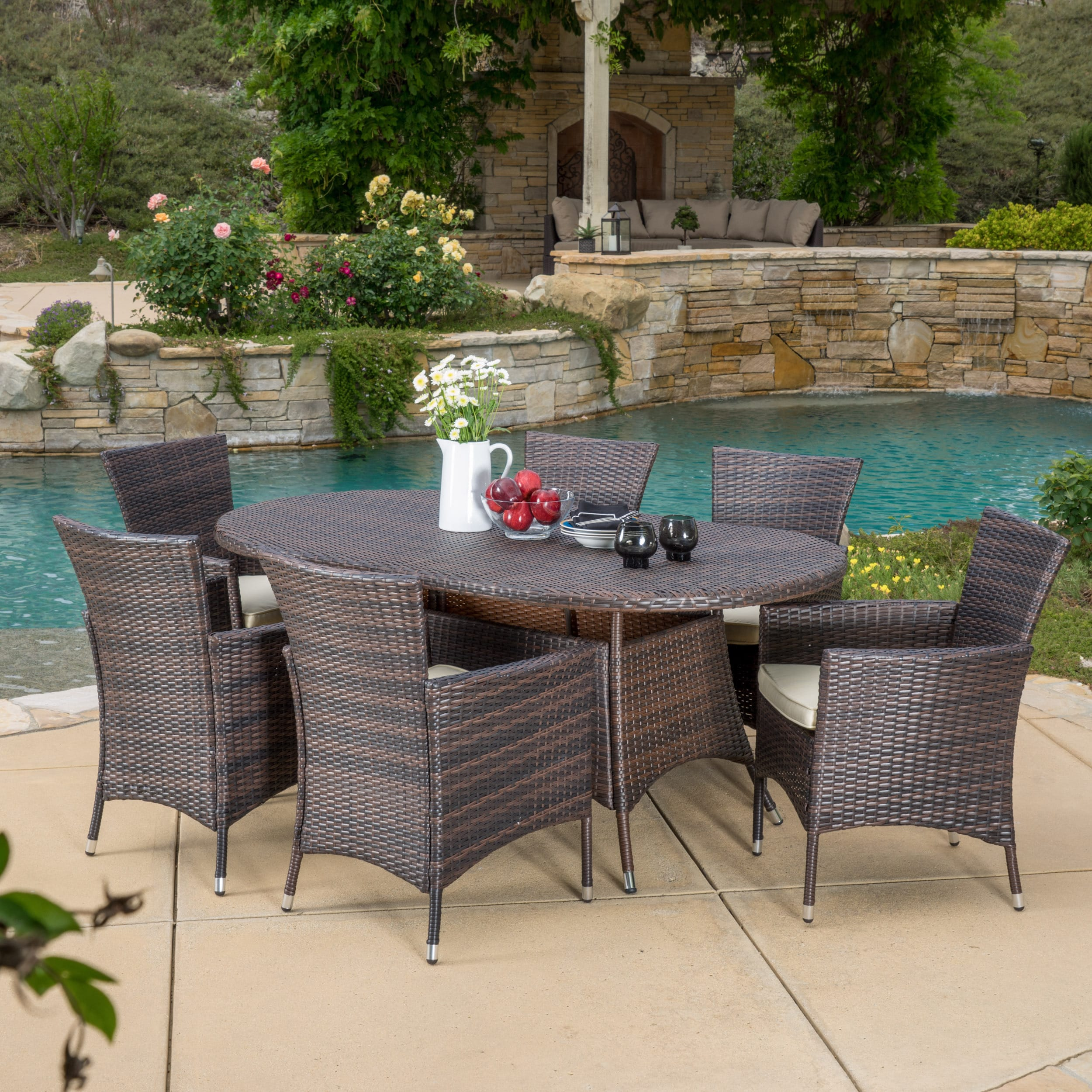 Dana Outdoor 7-piece Wicker Dining Set with Cushions by C...