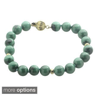 Gems For You 14k Yellow Gold Gemstone Bead 7.5-inch Bracelet