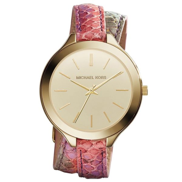 0203c9ed8dd5 Shop Michael Kors Women s MK2390 Slim Runway Round Multicolor Leather Strap  Watch - Free Shipping Today - Overstock - 10175199