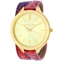 Michael Kors Women's  Slim Runway Round Multicolor Leather Strap Watch
