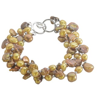 Pearls For You Sterling Silver Dyed Gold and Bronze Freshwater Pearl 3-strand Bracelet (6-7 mm)