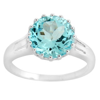 Sterling Silver Blue Topaz Cocktail Ring