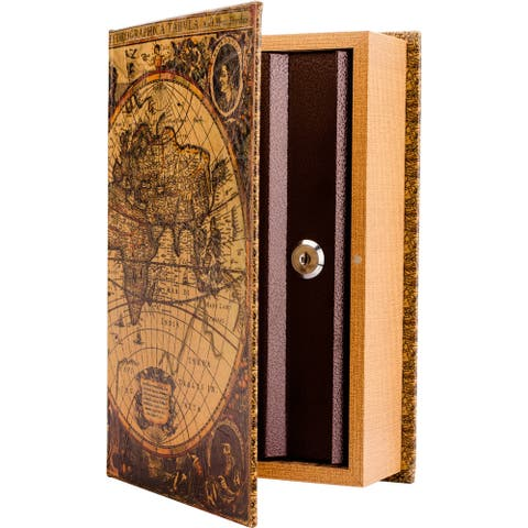 Antique Map Diversion Book Lock Box