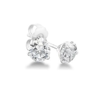 1/4 Carat Diamond Martini Stud Earrings In 14 Karat White Gold, (J-K, I2-I3)