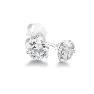 1/4 Carat Diamond Martini Stud Earrings In 14 Karat White Gold, (J-K, I2-I3) - White J-K