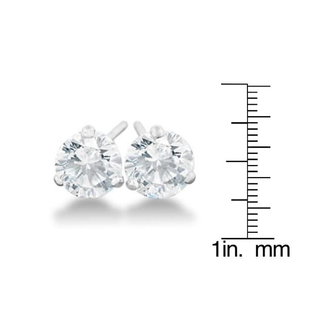1/2 Carat Diamond Martini Stud Earrings In 14 Karat White...
