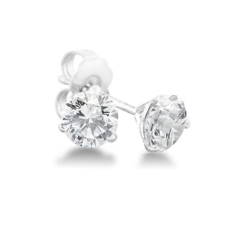 1/2 Carat Diamond Martini Stud Earrings In 14 Karat White Gold, (J-K, I2-I3)