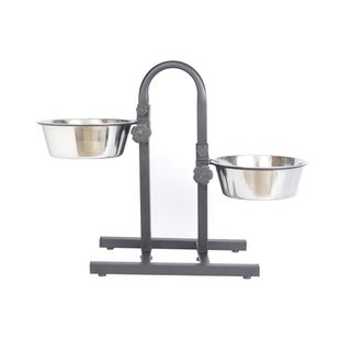 Iconic Pet Stainless Steel Adjustable Pet Double Diner (Option: Multi)