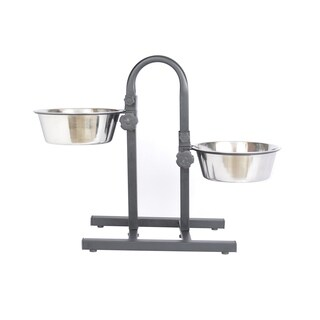 Iconic Pet Stainless Steel Adjustable Pet Double Diner