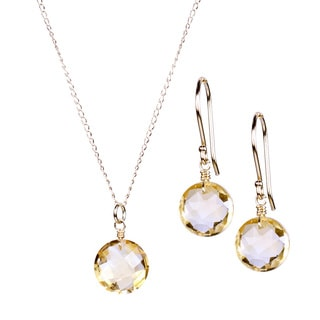 Women's 14k Yellow Gold Citrine Necklace and Earrings Set