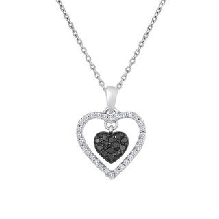 Beautifully Dangling Black and White 0.38 cttw Diamonds Heart Pendant with 18 inch link chain