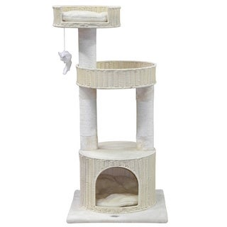 GoPetClub Hand Craft Rattan Wicker Cat Tree Furniture