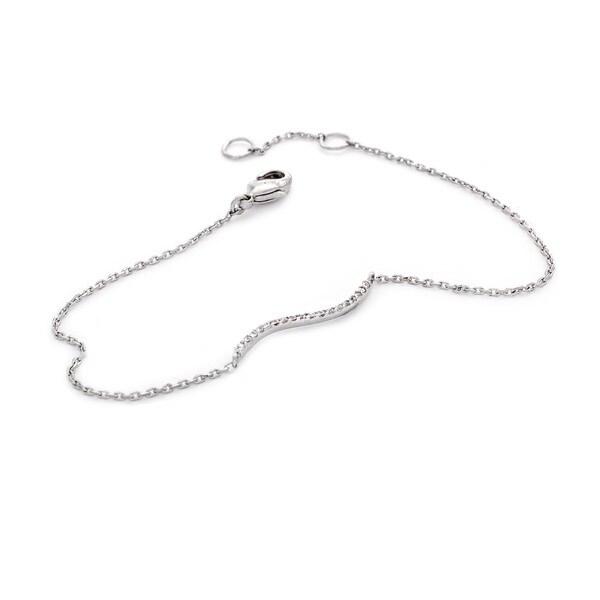 NEXTE Jewelry Silvertone Cubic Zirconia Tilde Shape Chain Bracelet - Silver