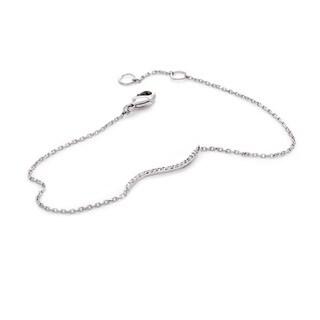 NEXTE Jewelry Silvertone Cubic Zirconia Tilde Shape Chain Bracelet