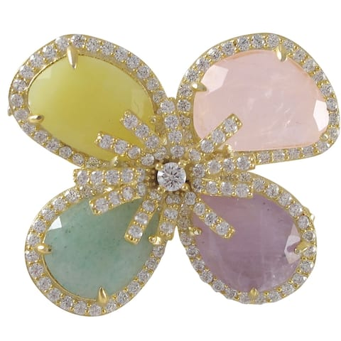 Luxiro Goldtone Sterling Silver Gemstone and Cubic Zirconia Flower Brooch