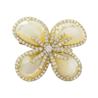 Luxiro Goldtone Sterling Silver Gemstone and Cubic Zirconia Flower Brooch (2 options available)