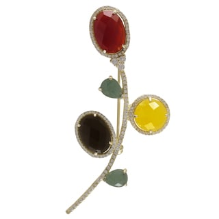 Luxiro Sterling Silver Gemstone and Cubic Zirconia Flower Brooch