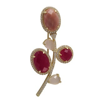 Luxiro Sterling Silver Gold Finish Gemstone and Cubic Zirconia Flower Brooch