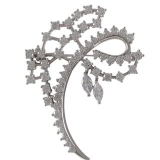 Luxiro Sterling Silver Cubic Zirconia Curlicue Brooch