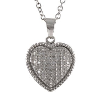 Luxiro Sterling Silver Micropave Cubic Zirconia Heart Necklace