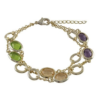 Luxiro Gold Finish Multi-color Oval Glass Stones Bracelet