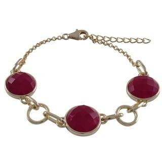 Luxiro Sterling Silver Gold Finish Multi-color Semi-precious Gemstone Bracelet