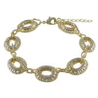 Luxiro Gold Finish Two-tone Cubic Zirconia Hammered Oval Link Bracelet