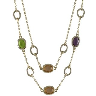 Luxiro Gold Finish Multi-color Glass Stones Two-row Necklace