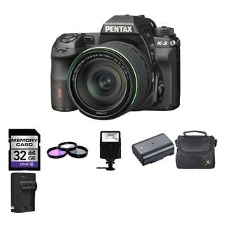 Pentax K-3 Digital SLR Camera with 18-135mm Lens/ 2 Batteries/ 32GB Card and Flash Bundle