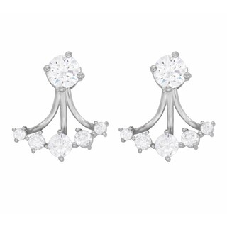 Rhodium Plated Sterling Silver Front Back Cubic Zirconia Earrings