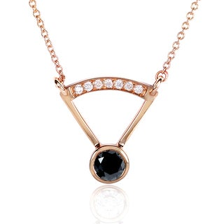 Annello by Kobelli 14k Rose Gold 2/5ct TDW Round-cut Black Diamond Bezel Necklace