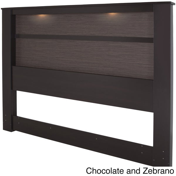 King-Size Wooden Headboard with Inset Lights