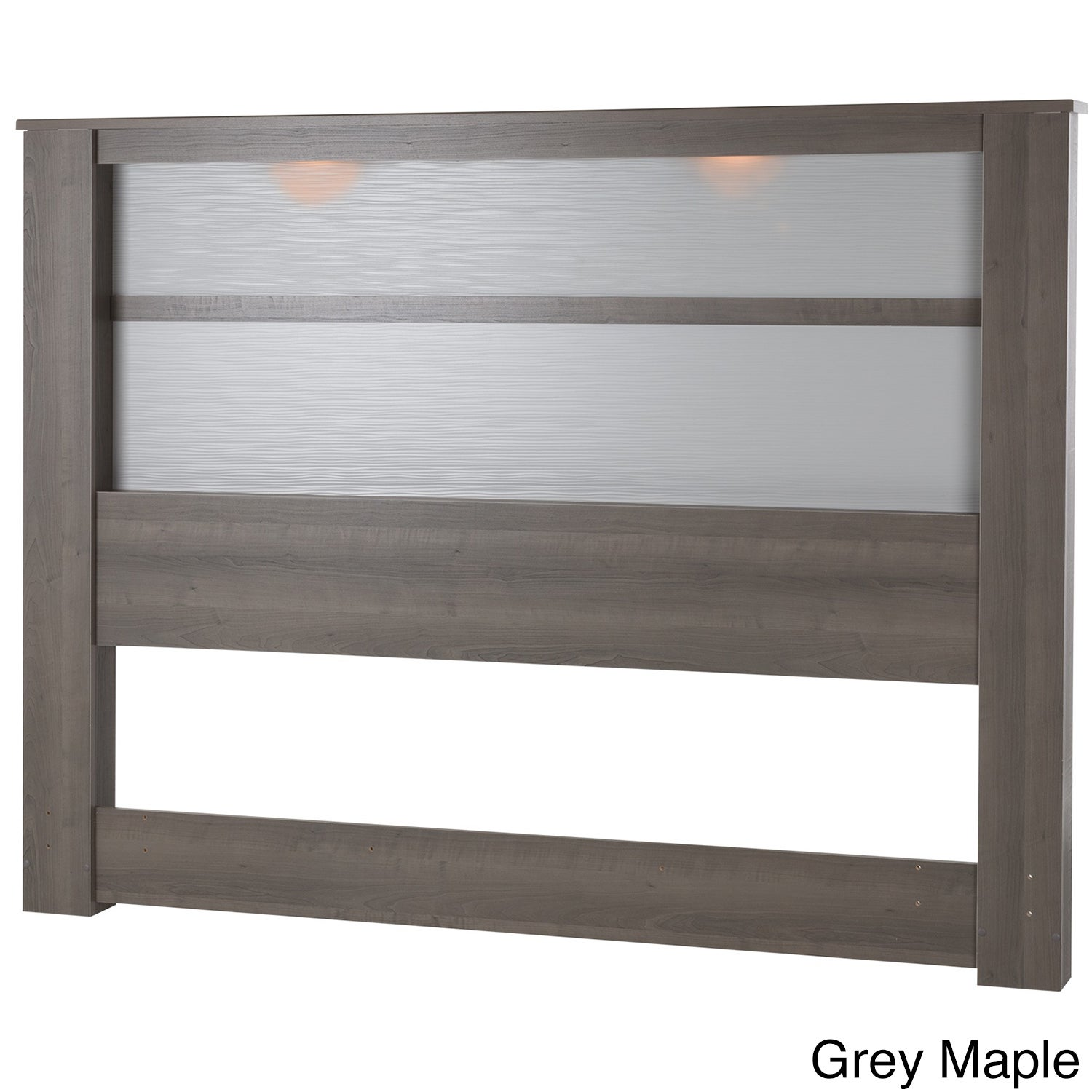 King-Size Wooden Headboard with Inset Lights (Grey Maple)