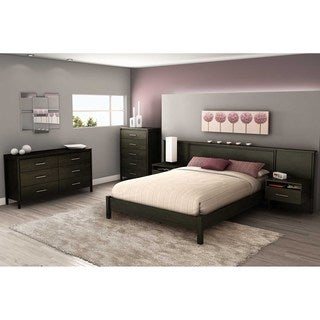 South Shore Gravity Queen Ebony Headboard/ Built-in Night Stand Set