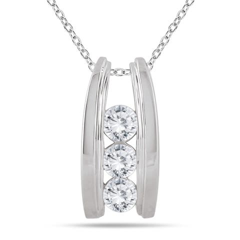 Marquee Jewels 14k White Gold 1ct TDW Diamond Ladder 3-stone Necklace