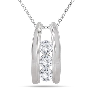 Marquee Jewels 14k White Gold 1ct TDW Diamond Ladder 3-stone Necklace (I-J, I2-I3)