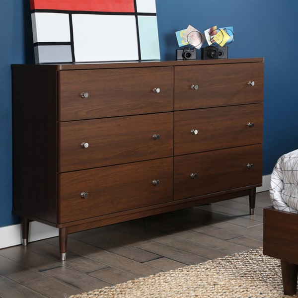 shop south shore olly mid century modern 6 drawer double dresser free shipping today. Black Bedroom Furniture Sets. Home Design Ideas