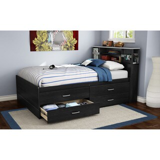 South Shore Furniture Cosmos Black Wood 4-drawer Full Captain Bed