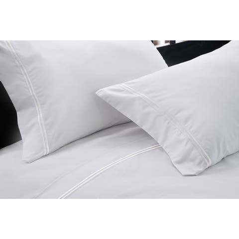 Hotel Suite 4-piece 1200 Thread Count Cotton-rich Embroidery Bed Sheet Set