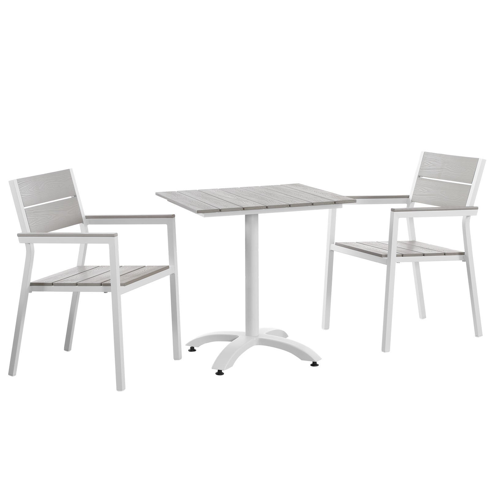 Modway Main 3-Piece Outdoor Patio Dining Set (White/Grey)...