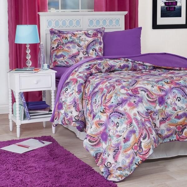 Windsor Home Purple Paisley Reversilble 22-piece Dorm-in-a-Bag and Bath Set