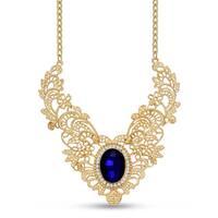 Gold Over Brass Royal Blue Glass Stone Regal Bib Necklace