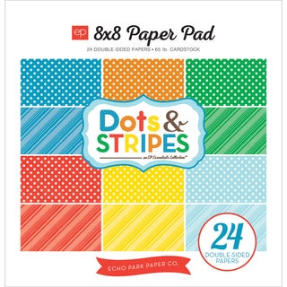Echo Park DoubleSided Paper Pad 8inX8in 24/PkgSummer Dots & Stripes