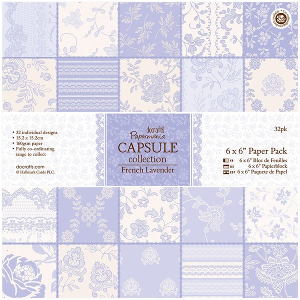 Papermania Paper Pack 6inx6in 32 Pkgfrench Lavender Free